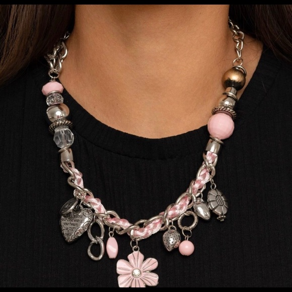 4 for $20. Pink charm necklace